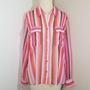 {Adrienne Vittadini} Orange Pink Striped Blouse …